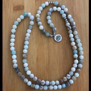 Genuine Amazonite mala bead necklace lotus flower